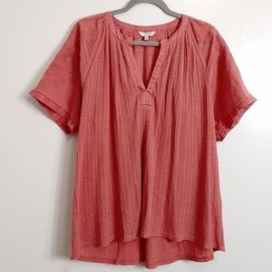 Lucky Brand Drop Needle Cut Out Top Embroidered XL